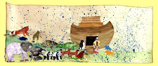 Picture of a collage of Noah's Ark and the animals, produced at the last Family Hotpot (Messy Church)