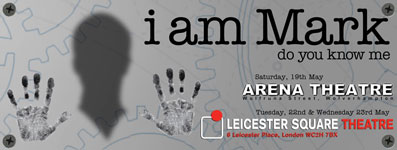 "Image showing poster for Applecart's ""i am Mark"" show"