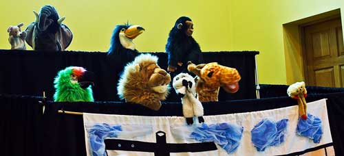 Picture of the puppets as the animals in the ark.