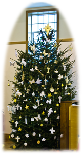 Photograph of Springdale Christmon Tree showing Christian symbols