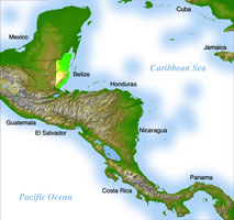 Map of Central America with Belize highlighted. Original data: US Geological Survey. Links to larger version of map.