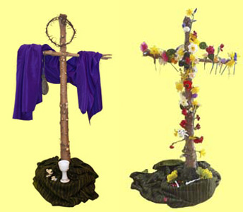Picture of the Lent Cross and the Easter Cross