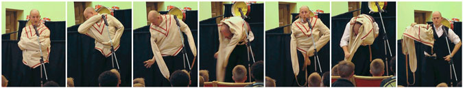 Montage of pictures from Mark Harrington's escapology version of the Easter story