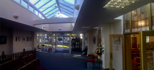 Picture of the new atrium looking towards the road
