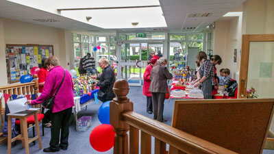 Photograph of the Summer Fair 2012 showing the activities in the atrium